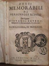 BOTERO : MEMORABILI DI PERSONNAGGI ILLUSTRI, 1610.