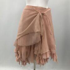 New All Saints Asymmetric Skirt Womens Size UK 10 Pink 100% Silk Ragged 280057