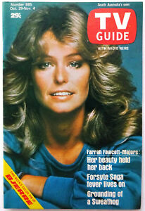 FARRAH FAWCETT - TV Guide Magazine - South Australian 1977 Cover - Rare