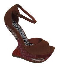 Nw Brown camel Rhinestone ankle Strap peep toe cut wedge platform High Heel 7.5