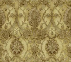 Elisabetta Damask Golds and Browns Wallpaper ART25065 Chesapeake per Double Roll