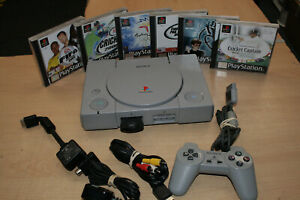 Retro Sony Playstation 1 Console Bundle 1 Controller Memory Card And 6 Games