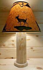 RUSTIC DEER LOG TABLE LAMP W/FREE SHADE! CEDAR HUNTING LODGE DECOR ANTLER