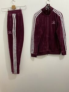 Adidas Originals Beckenbauer Tracksuit Velour Maroon White Size S