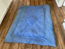 More details for vintage pelaw 1930s eiderdown quilt blue patterned feather down 160cm x 130cm