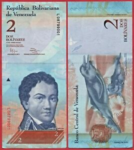 VENEZUELA 2 BOLIVARES 2012 P88 BANKNOTE UNC