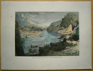 1872 print POTOMAC RIVER FROM CHAIN BRIDGE, LITTLE FALLS, WASHINGTON D.C. (#285)