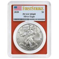 2020 $1 American Silver Eagle PCGS MS69 First Strike Flag Label Red Frame