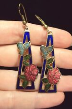 blue butterfly pink Hibiscus rose flower triangle cloisonne gold dangle earrings