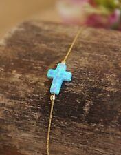 Cross Opal Bracelet Pendant Gold Filled Women Jewelry October Birthstone