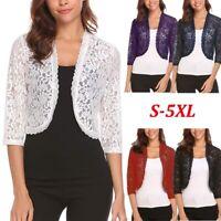 Womens Short Sleeve Lace Cardigan Ladies Light Shrug Top 3/4 Bolero Plus Size