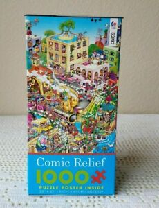 """CEACO 1000pc Jigsaw Puzzle Comic Relief """"Heaven on Earth"""" by RJ Crisp w/Poster"""