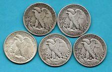 More details for 5 x usa silver half dollar coins, 1935 - 1946. philadelphia / sf mint. job lot.