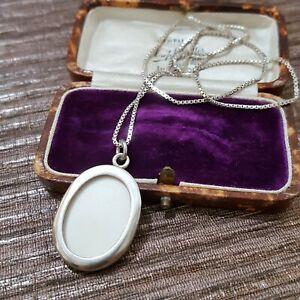 "Vintage Sterling Silver Locket, Open Photo Locket Necklace, 20"" Chain"