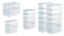 Aufbewahrungsbox set mit Deckel - aus Kunststoff - transparent - Stapelboxen