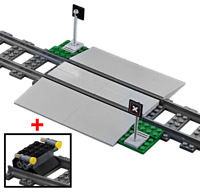 LEGO Train Track Level Crossing Set Double Car Width & Buffer Stop 60197 60198