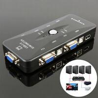 HB- USB 2.0 4 Port Monitor VGA SVGA KVM Switch Box 4 Cables for PC Keyboard Mous