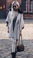 ZARA CROSSOVER CAPE FAUX FUR COLLAR COAT JACKET REF 6873 143 SIZE M