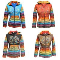 Women's Sun Patchwork Pixie Hippy Ribs Hoodie Light Cotton Hippie Faded Jacket