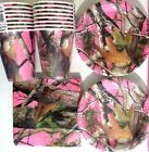 PINK HUNTING CAMO Birthday Party Supply Kit w/ Plates,Napkins & Cups