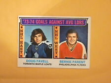 HOCKEY CARD OPC 1974 BERNIE PARENT   DOUG FAVELL TORONTO LEADER GOAL AGAINST