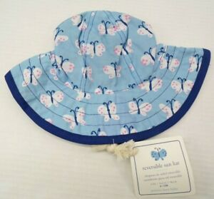Pottery Barn Kids Allover Butterfly Reversible Beach Hat 6-12 Months Blue #9809