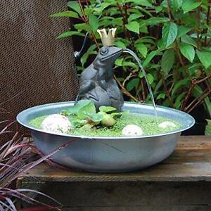 Wasserspeier Froschkönig a. Kugel m. Pumpe - 9x9xH19cm  Miniteich Wasserspiel