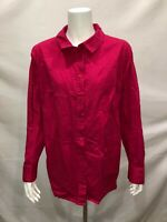 Isaac Mizrahi Long Sleeves Button Front Woven Tunic Blouse Top Pink Size 22W