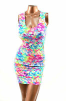 Size LARGE LG Neon UV Glow Tracks  Print Bodycon Clubwear Tank Dress