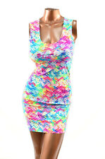 Size LARGE LG Neon UV Glow Tracks  Print Bodycon Clubwear Tank Dress