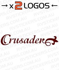 2x MONARCH CRUSADER WORD vintage, retro Caravan decal, sticker