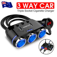 3 Way 12V Multi Socket Car Cigarette Lighter Splitter Dual USB Charger Adapter