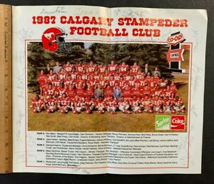 """1987 CALGARY STAMPEDER FOOTBALL CLUB HAND SIGNED BY (22+/-) 12X14"""" POSTER (AA)"""