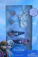 Jewelry Accessory Set DISNEY FROZEN Olaf Princess Necklace Hair Clips Rings 5 pc