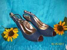 Denim Blue Slingbacks High Heels with Metallic Gold Piping - Size 6