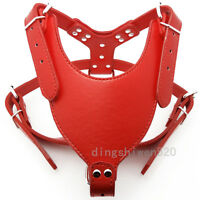 New Red Leather Dog Harness Large Pitbull Mastiff Boxer Bully Chest for 26~34""
