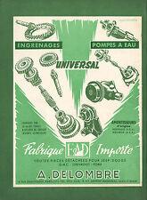 PUBLICITE   DELOMBRE IMPORTATION PIECES DETACHEES  /  ACCESSOIRES  AUTO AD 1953