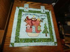 Snowman Angel Small Quilt Panel Handmade Hand Pieced Applique Bird Houses