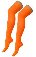 Ladies Girls Long Over The Knee Plain Cotton Socks- Orange