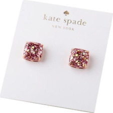 KATE SPADE Mini Rose Gold Pink Glitter Square Stud Earrings