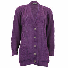 7bc3ea5777 Ladies Cardigans Womens Knitted Jumper Cable Jacquard BOYFRIEND Chunky  Winter Purple - L5buth4 X Large