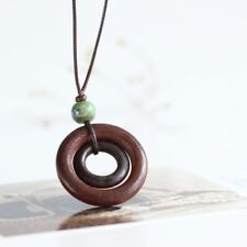Brown Bead Wood Necklace Rope Chain Long Double-circle Pendant