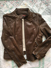 Andrew Marc Genuine Grain Brown Leather Motorcycle Cafe Racer Biker Jacket XL