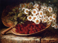Oil painting August Laux A Summer Still Life white flowers with raspberries 36""