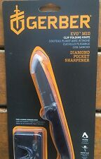 Gerber Evo Tanto Mid Size Clip Folding Knife & Diamond pocket sharpener 3132 set