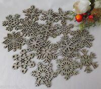 16 Gruccia di Legno Brillantini Argento Decorazioni Albero Natale Stella Fiocchi