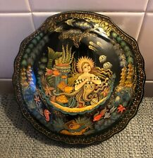 Large Vintage Russian Palekh Hand Painted Seashell Shape Signed Laquer Box