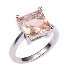 Princess Cut, Big Stone Morganite lady's Ring White Gold Plated Size 5, 6,7,8,9