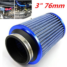 "BLUE UNIVERSAL 3""INCH HIGH FLOW COLD AIR SHORT RAM INTAKE DRY CONE MESH FILTER"