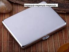 Ultra Super Thin Slim 9 pcs Plain Silver Polish Wiredrawing Cigarette Case Box